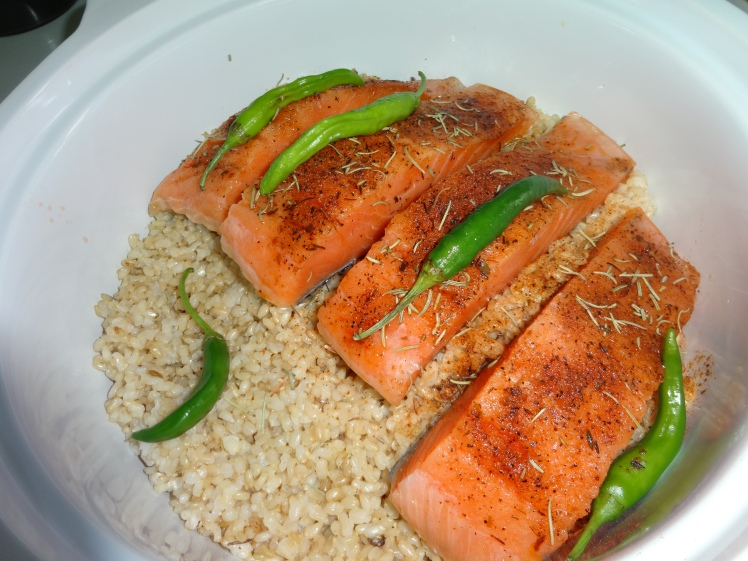 Salmon Steak with rice